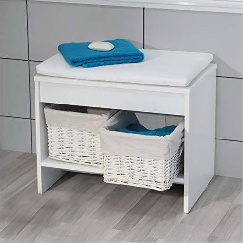 FACKELMANN Badhocker Relax! / Sitzbank mit Sitzkissen/Badschemel mit Zwei Körben zur Aufbewahrung/Maße (B x H x T): ca. 58 x 45 x 39 cm/Korpus: Weiß