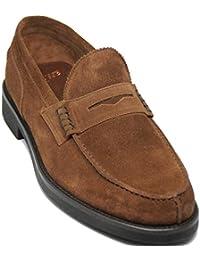 Lottusse 5677.Zapato mocasín con Antifaz,Ante Becerro Primera Calidad,Color marrón Claro