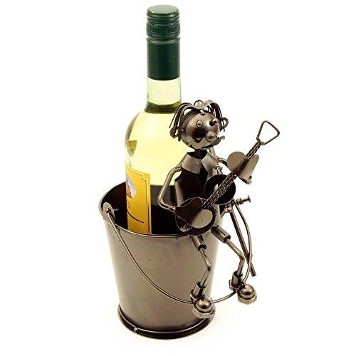 H-LINE Weinflaschenhalter MUSIKER auf Metalleimer, Flaschenhalter Geschenkidee für Männer &...