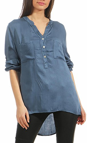 d06a175894f malito Blouse With V-Neck Safari 3 4 Tunic Top T-Shirt Loose Longsleeve  Slim Fit Skinny Straight Oversized 9015 Women One Size (Denim)