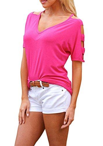 Nicetage Damen Beiläufige Schulterfrei T-Shirt Locker Stretch Shirt Tops Kalt Schulter Bluse Oberteil 02Dunkelrosa