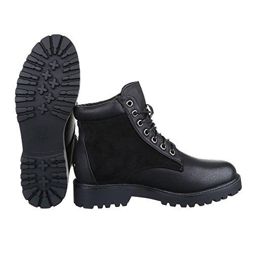 Ital-Design Schnürboots Damen Schuhe Combat Boots Blockabsatz Strass Besetzte Schnürsenkel Stiefeletten Schwarz