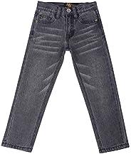 justfound4u Pantalones vaqueros de diseñador para niños, elásticos, cintura ajustable, color carbón, negro, az