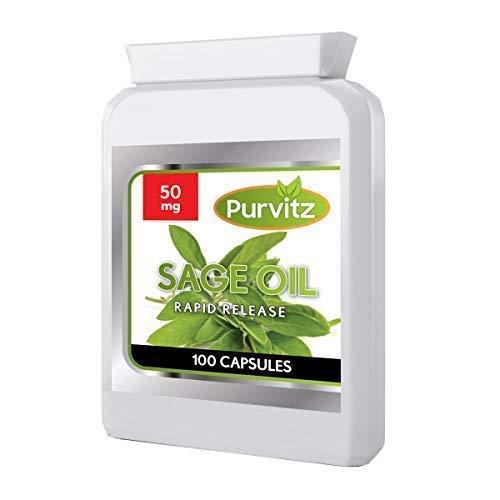 Salvia Aceite Esencial 50MG 100 Cápsulas Cápsulas Blandas Sida Sofocos Menopausia por Purvitz