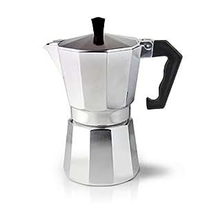 Cafe Ole 3-Cup Italian Style Aluminium Espresso Coffee Maker, Silver, 120 ml
