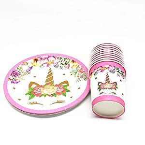 PartyToko Disposable Paper Plates (10) Paper Cups (10) Unicorn Themed Party, Children Birthday Party or First, Baby Shower, Birthday Gift Return Gifts Online (Unicorn)