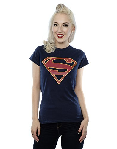 DC Comics Damen Supergirl Logo T-Shirt Small Deep Navy