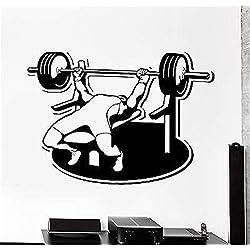 stickers muraux plume noir Sport Banc de musculation Press Barbell Athlete