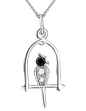 YFN 925 Sterling Silber Schwarz und Weiß Diamant Accent Vogel auf Käfig Anhänger Halskette für Frauen Mädchen,...