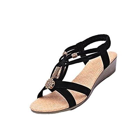 Bluestercool Femmes Occasionnels Peep-toe Flat Buckle Chaussures Roman Summer Sandals (Noir, 40)