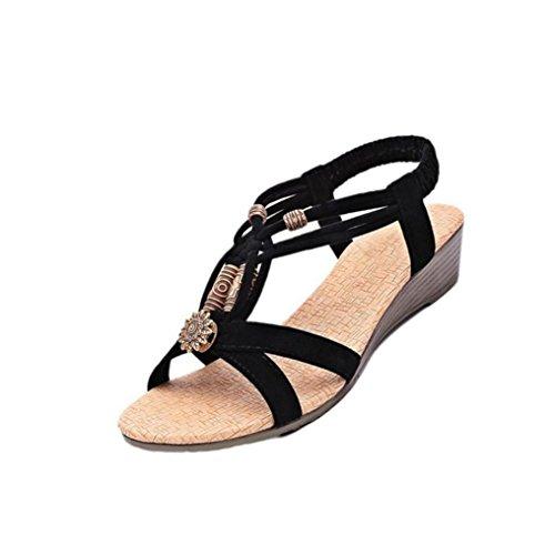 bluestercool-femmes-occasionnels-peep-toe-flat-buckle-chaussures-roman-summer-sandals-noir-40