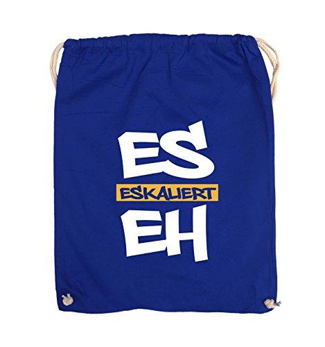Comedy Bags - Es eskaliert eh - GRAFFITI - Turnbeutel - 37x46cm - Farbe: Schwarz / Weiss-Neongrün Royalblau / Weiss-Gelb
