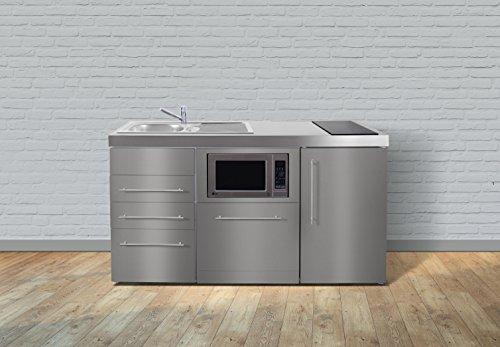 Miniküche Premiumline MPGSMESS3 160 – Edelstahl – Kühlschrank – Geschirrspüler – Mikrowelle – Schubladen (Glaskochfeld rechts - Becken links)