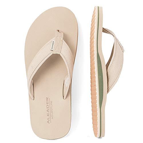 e8d50d5a51b84 ALEADER Mens Classic Flip Flops with Arch Support Summer Lightweight Beach  Pool Rubber Sandals Tan 12 UK