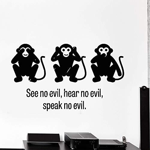 57x96cm Three Wise Monkey See No Evil Hear No Evil Speak No Evil Vinyl Wall Decal Stickers Dekorative Pattern Home Decor Art Mural