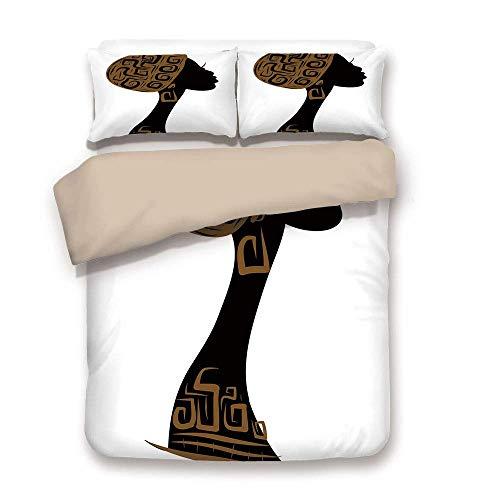 Soefipok Bettbezug-Set, Afrikanerin, Gesicht Profil Silhouette Frau mit Kopftuch Tribal Art Folk-Elemente, braun schwarz weiß, dekorativ 3 Stück Bettwäsche Set von 2 Kissen Shams Twin Size
