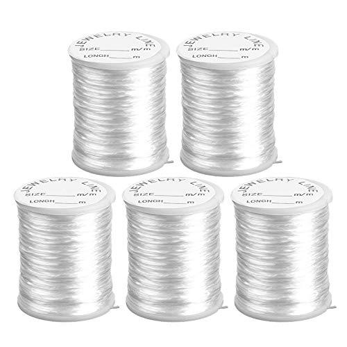 Transparent Elastisch (Nylonband | Nylonfaden | Nylonschnur | transparent, elastisch &, reißfest | 0,8 mm x 20 m je Rolle | 5 Rollen = 100m | ideal für Armbänder, Schmuck-Basteln, Perlen auffädeln, DIY)