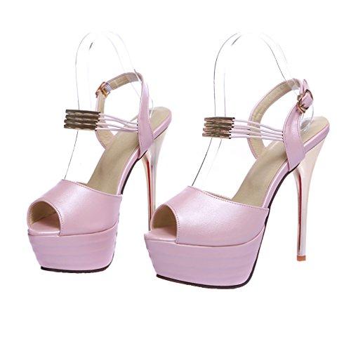 Senhoras Toe Sapatos Peep Sandálias Salto Planalto Rosa Com De De Ye Festa Fivela Strappy Alto Elegantes Stiletto tdRHOnxqA
