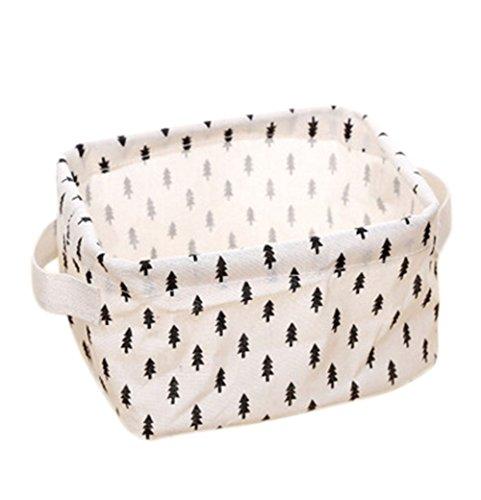Aloiness Kleine Baum-Stil Stoff Aufbewahrungskörbe Spielzeug Aufbewahrungstasche Kleidung Make-up-Organizer faltbar Korb Tasche Staub Aufbewahrungskorb (Make-up-korb)