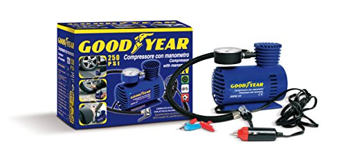 Goodyear 77364 Compressore con Manometro 250 PSI 12 V, Blu