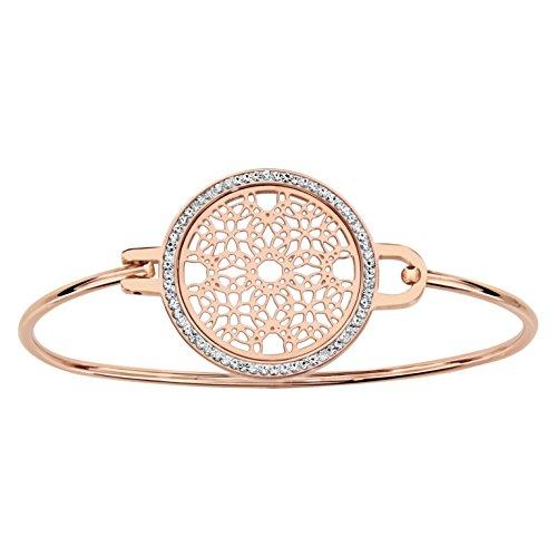 Armband Rose Ring Runde Scheibe Rosette Harz Straß Weiß Edelstahl -