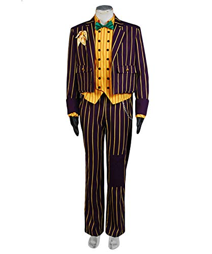 Arkham Joker Kostüm Asylum Batman - MingoTor Superheld Gestreifter Anzug Cosplay Kostüm Coat Suit Herren XXL