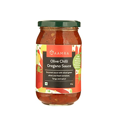 Aamra Natural Homemade Olive Chilli Oregano Sauce 365gm- Ready to use Pasta and Pizza Sauce