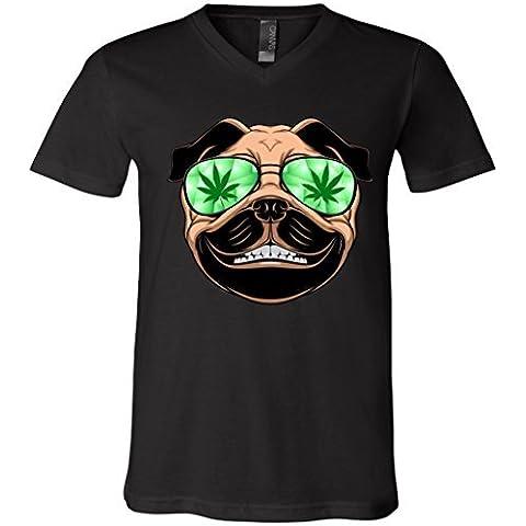 High Off Weed Smiling Pug V-Neck T-Shirt