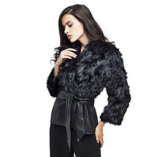 Pnygfdlbgi pelliccia, lady imitazione pelliccia pellicce, camicia, la camicia, la camicia,black,m