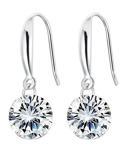 sailimue 925 Sterling Silber Tropfen Ohrringe mit 9mm Zirkonia für Damen Mutter Hänger Ohrringe Elegant Schmuck Ohrringe Geschenk Muttertag