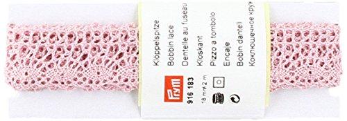 Prym Bobine en Dentelle, 100% Coton, Rose pâle, 18 mm, 2 m