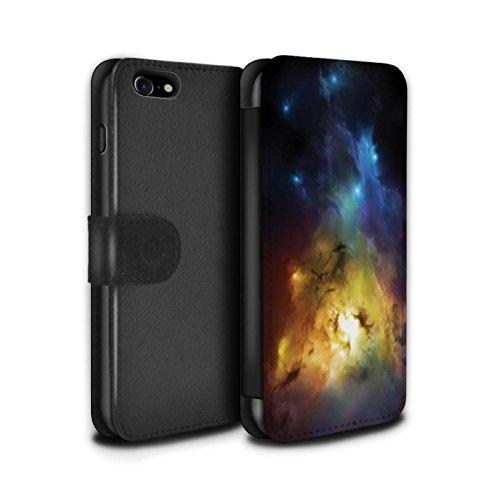 Offiziell Chris Cold PU-Leder Hülle/Case/Tasche/Cover für Apple iPhone 8 / Saphir Spitzen Muster / Fremden Welt Kosmos Kollektion Arcularius Nebel