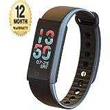 SHOPZIE Colorfit Fitness Smart Band Tracker Braceletwith Heart Rate Monitor Pedometer Calls Notification Blood Pressure Tracker Waterproof - Black