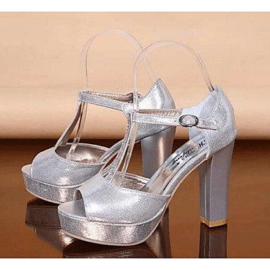 WIKAI Frauen Heels Formelle Schuhe synthetische Microfaser PU PU Fallen lässig Formelle Schuhe Silber Weiß 3-in-3 3/4 in, Silber, Us7.5/EU38/UK5.5/CN 38