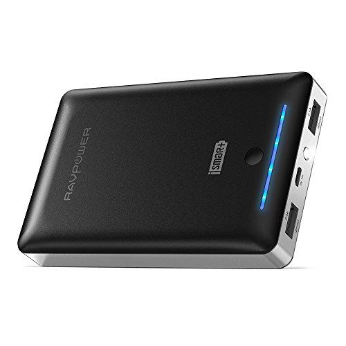 RAVPower 16750mAh Powerbank iSmart Externer Akku 4,5A Ausgang USB Ladegerät für iPhone 8, iPhone X, Galaxy 8, Note 8, iPad, HTC, Huawei, Sony, LG weitere Smartphones und Lozenge, Schwarz