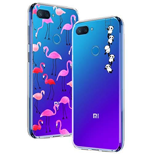 Yoowei [2-Pack] Funda para Xiaomi Mi 8 Lite, Transparente con Dibujos Ultra Fino Suave TPU Gel Silicona Protector Carcasa para Xiaomi Mi 8 Lite (Pandas y Flamencos Roja)