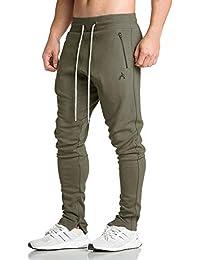 EKLENTSON - Pantalones de chándal para Hombre con Bolsillos con Cremallera, Pantalones de chándal con