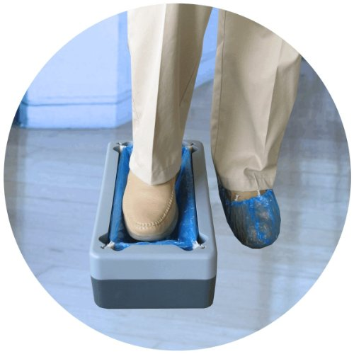 100 Disposable Overshoes Shoe Covers which can be used with or without the NEW Easy Use Kwik Kover Disposable Shoe Cover Overshoe Dispenser for Hygiene Areas, Boats, Yachts, Food Production, Crime Scenes, Show Homes. So Easy to Use they will be Used
