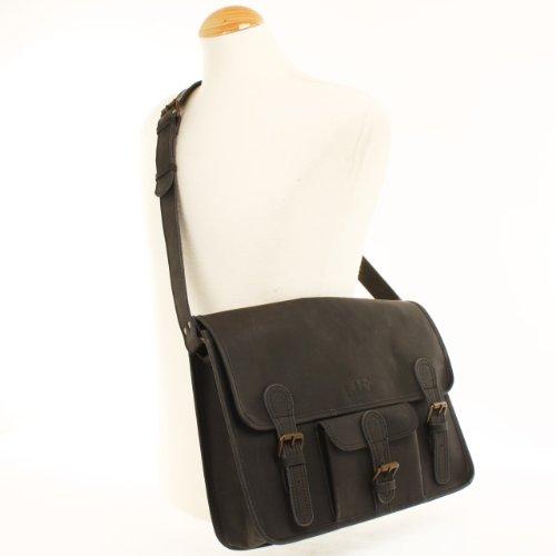 LECONI Collegetasche Büffeleder Used Look Messenger Bag Unisex Aktentasche 37x27x9cm LE3017 Schwarz