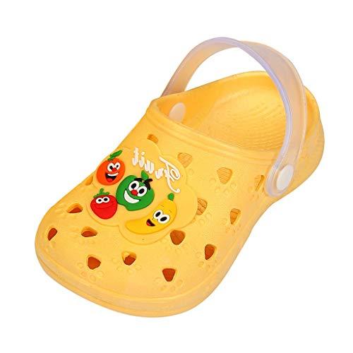 HDUFGJ Unisex-Kinder Crocband K Clogs Cute Fruit Beach Slipper Sandalen Schuhe Kinderschuhe Minions Hausschuhe Kinderschuhe Sale Clogs Riemchensandalen Geschlossene Sandalen29 EU(Gelb)
