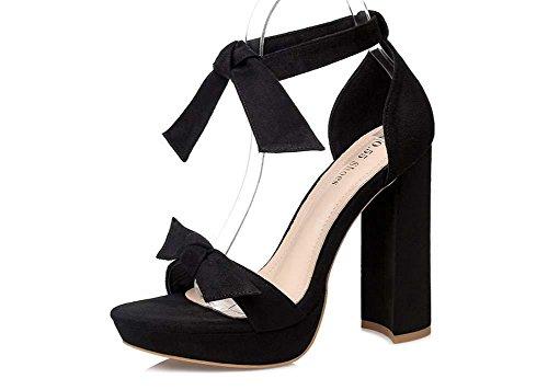 NobS Sandali con plateau Nightclub Bow tacco grosso aperte in punta Tacchi alti sandali sandali impermeabili Black