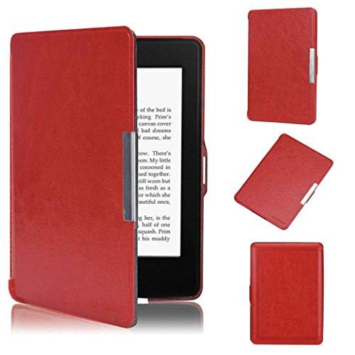 Per kindle paperwhite,amlaiworld copertura astuta di cuoio ultra sottile per il nuovo amazon kindle paperwhite 5 (rosso)