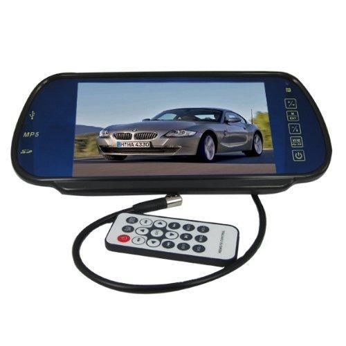 """BW - Espejo retrovisor con cámara y pantalla TFT LCD de 7"""" (2 entradas AV, 2 salidas de audio estéreo, USB, tarjetas SD, incluye mando a distancia)"""
