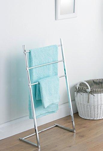 Premier housewares porta asciugamani cromato da pavimento con tre aste portasciugamani da - Porta asciugamani da terra ...