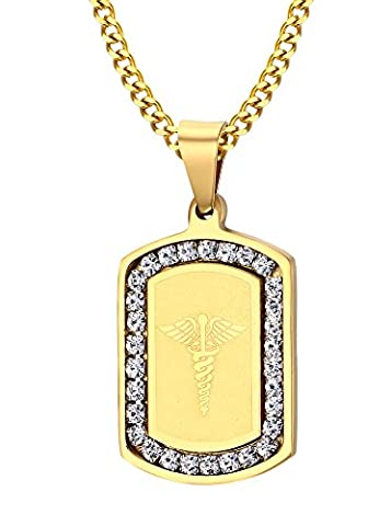 Vnox Men's Stainless Steel Cubic Zirconia Medical Caduceus Dog Tag
