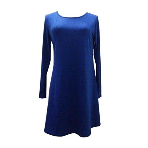 Robe Femme, Fulltime® Femmes en vrac Casual manches longues col O Ruffles Mini robe Bleu