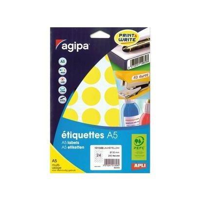 Agipa - Etui de 240 pastilles jaunes rondes multi-usages 30 mm de diamètre