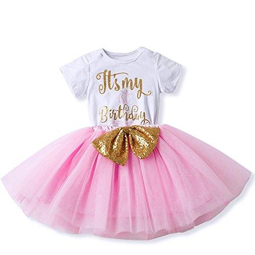 Baby Mädchen Ist es Mein 1. / 2. Geburtstags Kleid Sequin Tütü Prinzessin Glitzernde Bowknot Partykleid Neugeborene Säuglings Kleinkind Fotoshooting Outfits Kostüm (Mädchen Rosa Tutu Kostüme)