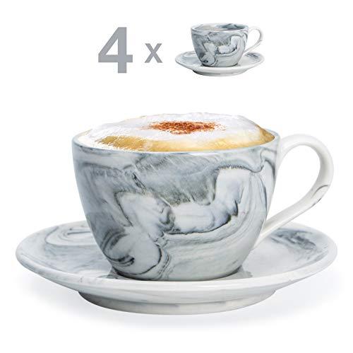 Hausmann & Söhne Cappuccino Tassen dickwandig | Set 8-TLG. | 4er Set Schwarze Marmor Tassen mit Untertasse | Porzellan | Tasse 170 ml (210 ml randvoll) | Tassen mit Untersetzer | Geschenkidee