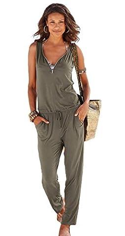 Longwu Frauen mit V-Ausschnitt Clubwear beiläufige Spielanzug -Overall-Hosen Armeegrün-S